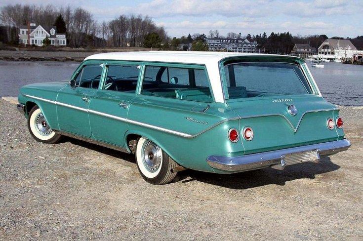 1961 Chevy Bel Air, fehér-zöld kombi, feneke