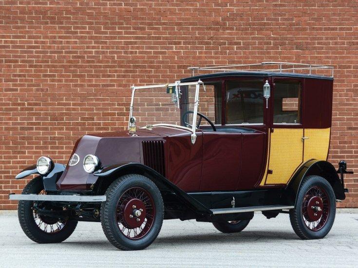 1924 Renault Type NN Town Car Labourdette, bordó limuzin, elölnézet, oldalnézet, balról, alulról fotózva