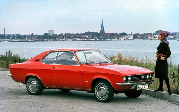 1972 Opel Manta A reklámfotó, piros kupé, elölnézet jobbról