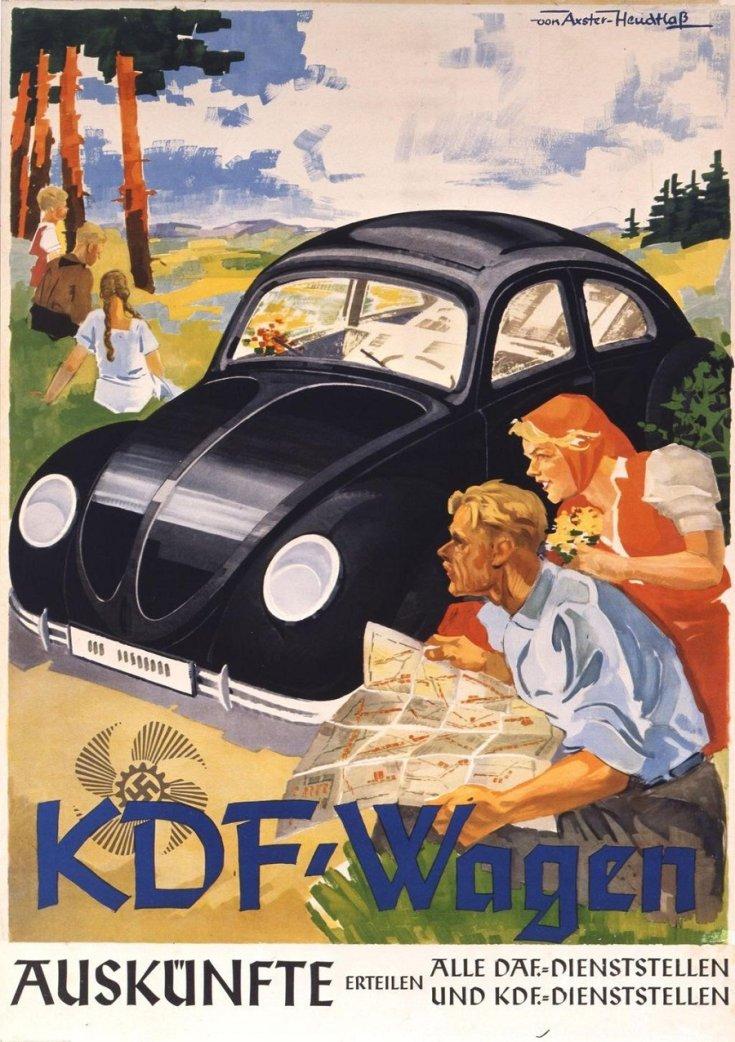 KDF Wagen, VW Bogár elődje, náci reklámplakát, festett kép, középen fekete autó, jobbra női és férfi alak, térképet olvasnak