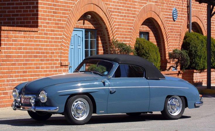1956 Rometsch Beeskow, VW Bogár alapú kabrió, kék fekete tetővel, oldalnézet