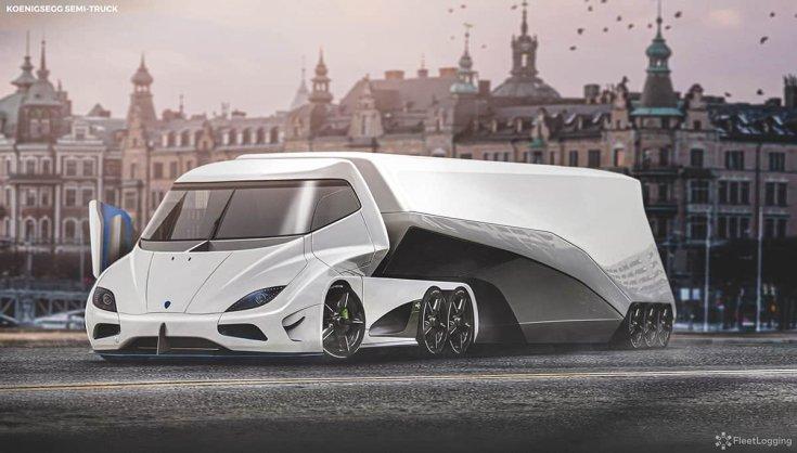 Koenigsegg koncepció kamion féloldalról