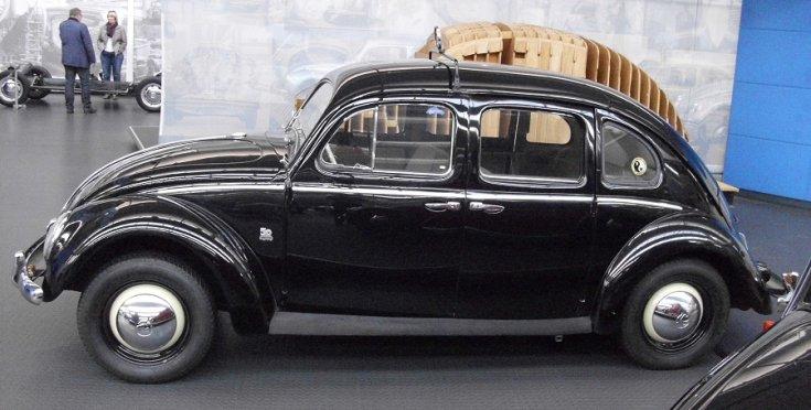 VW Typ 1 Taxi, Rometsch limuzin, fekete, oldalnézet, balró, alulról fotózva
