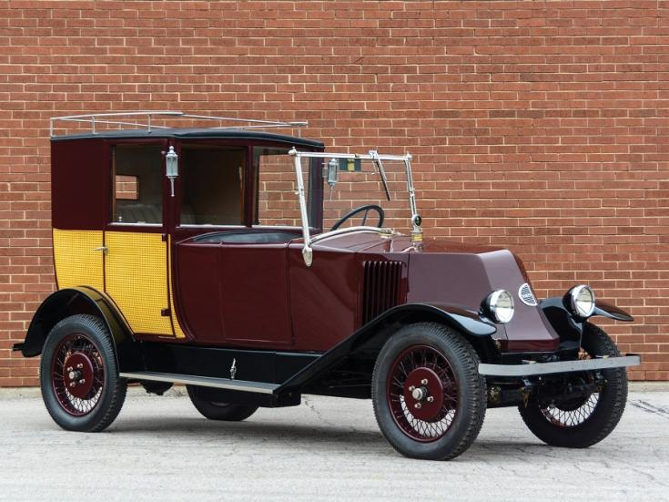 1924 Renault Type NN Town Car Labourdette, bordó limuzin, elölnézet, oldalnézet, jobbról, alulról fotózva