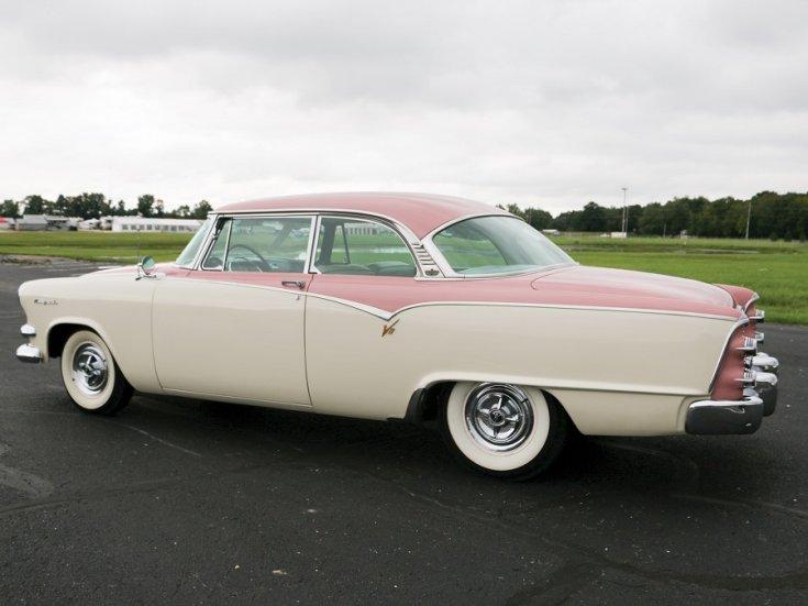 1955 Dodge La Femmme, rózsaszín fehér 2 dr hardtop coupé, hátulnézet, oldalnézet, balról, alulról fotózva