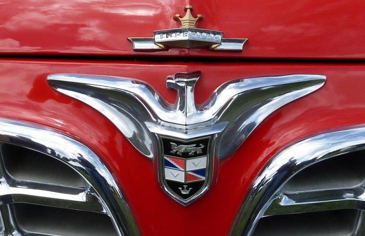 1955 Imperial Newport orra és logó, elölnézet, szemből
