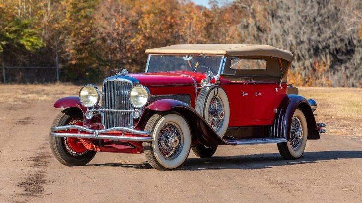 1932 Duesenberg Model J, piros kabrió limuzin eleje