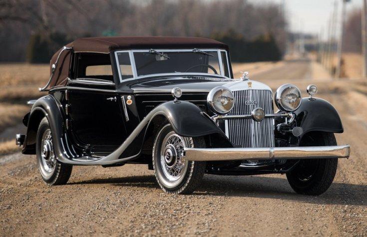 1934 Horch 12 Typ 670, fekete kabrió, elölnézet, oldalnézet, balról, távolról ráközelítve