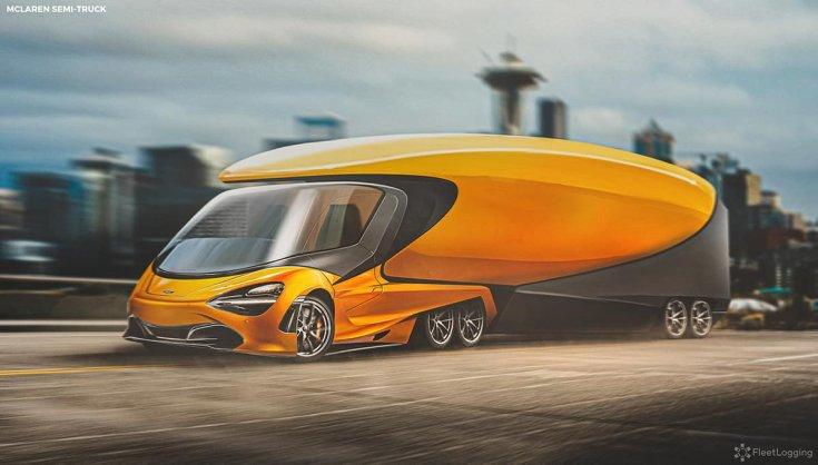 McLaren 720S koncepció kamion féloldalról