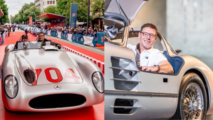 Bernd Mayländer a Mercedes régi autójával egy rendezvényen