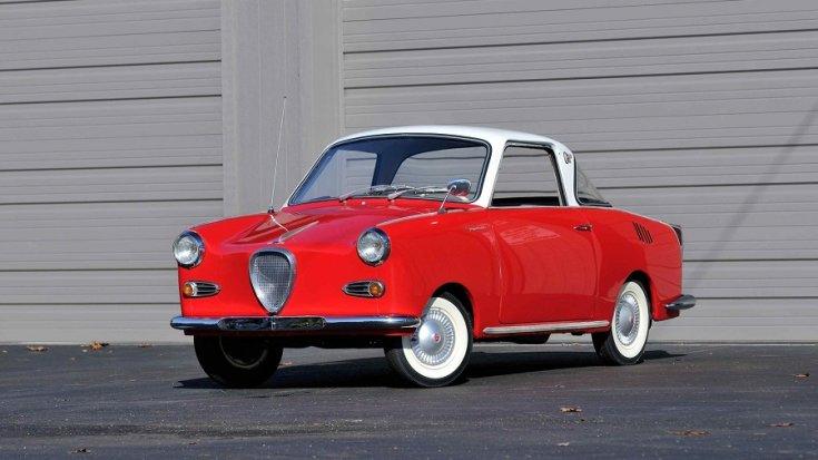 1969 Goggomobil TS250 Coupé, vörös és fehér, elölnézet, oldalnézet, balról