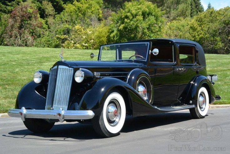 1937 Packard Twelve, fekete town car limuzin eleje