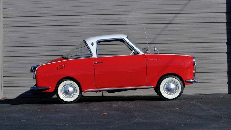 1969 Goggomobil TS250 Coupé, vörös és fehér, oldalnézet, jobbról