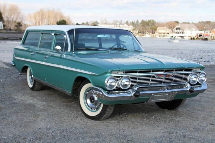 1961 Chevrolet Bel Air, zöld-fehér kombi, eleje
