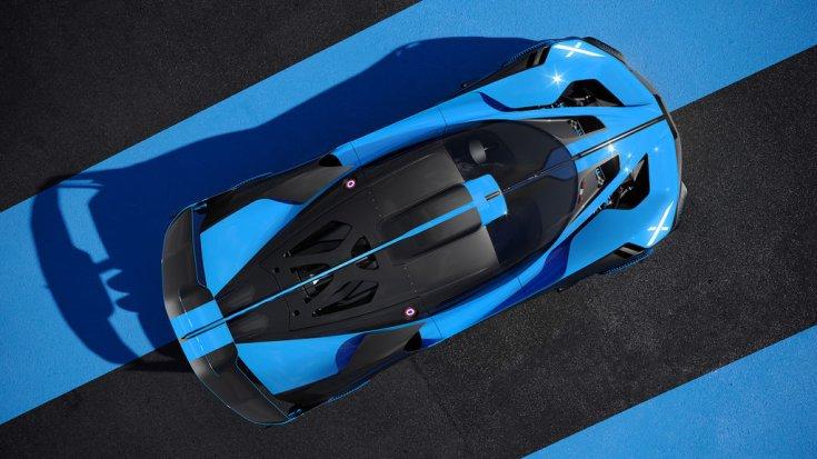 Bugatti Bolide egy versenypálya bukóterében felülről