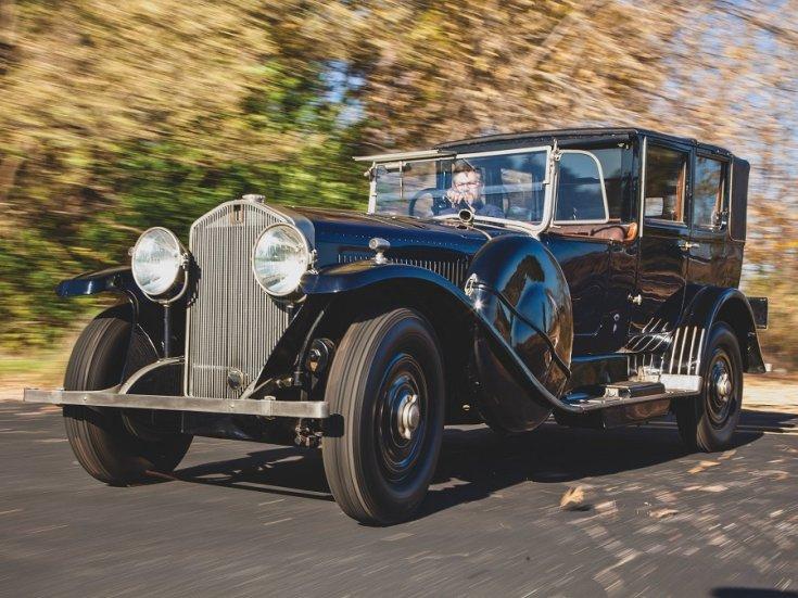 1924 Isotta Fraschini, Tipo 8A, kék, landaulet, elölnézet, oldalnézet, balról, menet közben