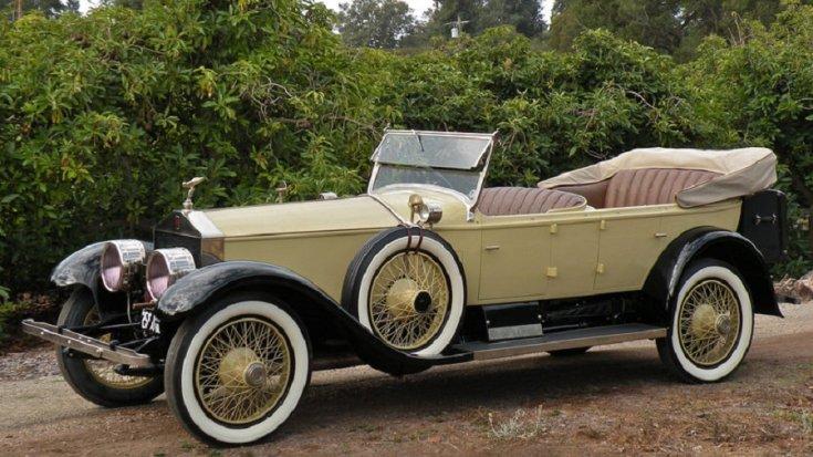 1924 Rolls Royce Silver Ghost, touring car, vajszínű, elölnézet, oldalnézet, balról