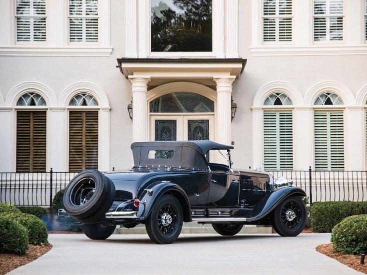 1931 Cadillac Series 452 V16, fekete roadster, hátulnézet, oldalnézet, jobbról