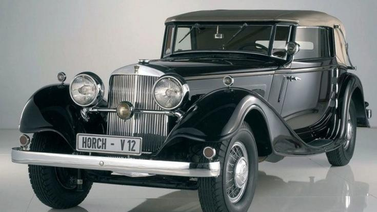 1931 Horch Typ 12, 670 sport kabrió, fekete, szürke felhúzott vászontetővel, elölnézet, oldalnézet, balrólról döntve