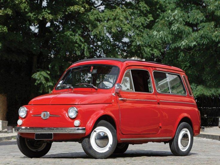 1960 Fiat 500 Giardiniera kombi, piros, elölnézet, oldalnézet, balról