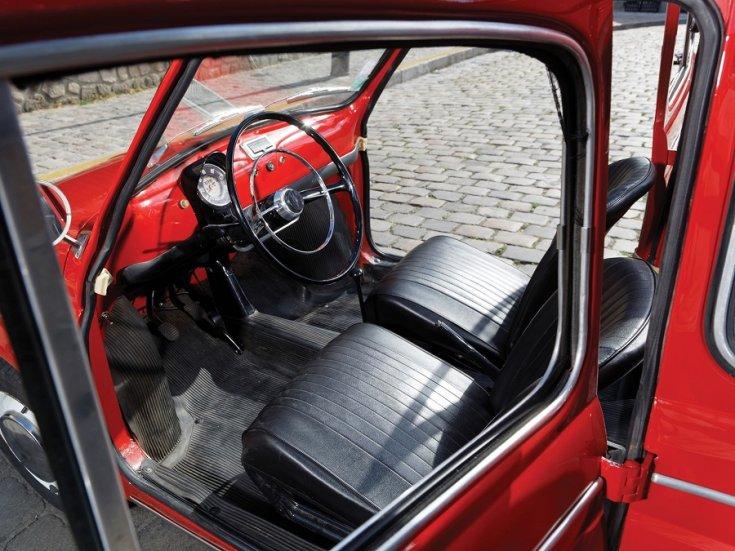 1960 Fiat 500 Giardiniera, piros, kombi, műszerfal, hátulnézet, oldalnézet, balról, kívülről