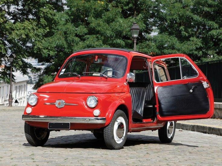 1960 Fiat 500 Giardiniera, kombi, piros, hátulnézet, oldalnézet, jobbról