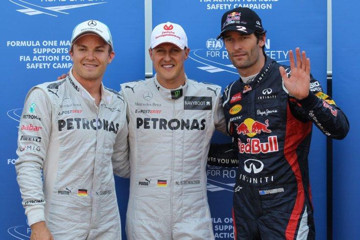 Nico Rosberg, Michael Schumacher és Mark Webber a 2012-es Monacói Nagydíj kvalifikációját követően