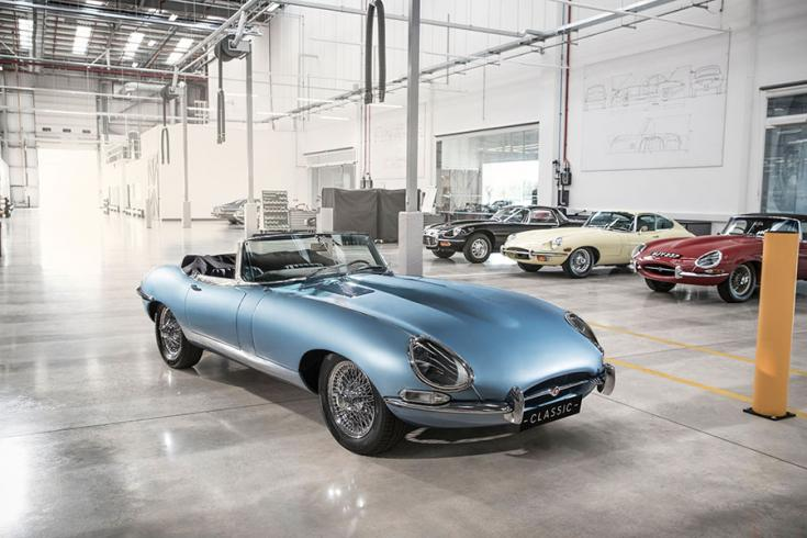 2018-as elektromos Jaguar E-Type elölről