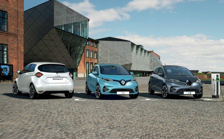 2020 Renault Zoe modellek sorakoznak egymás mellett
