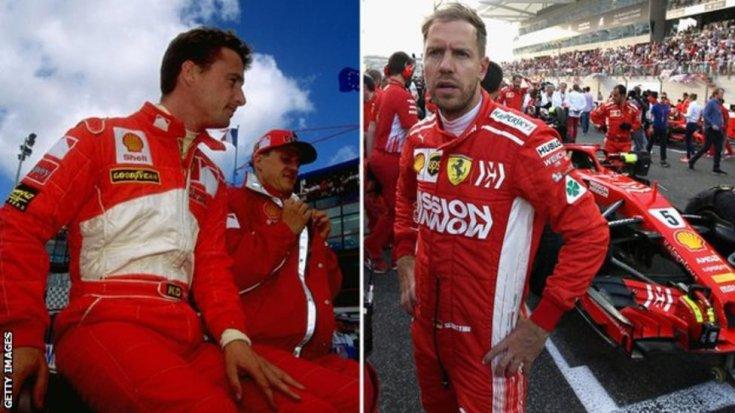Irvine és Vettel a Ferrari színeiben