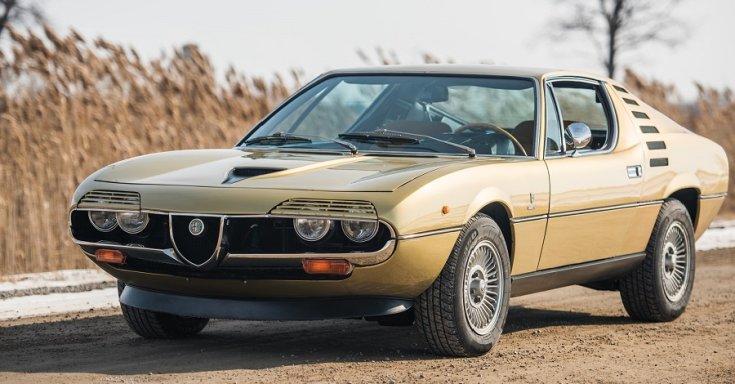 1970 Alfa Romeo Montreal, RM Sotheby's Aukció, sárga, elölnézet
