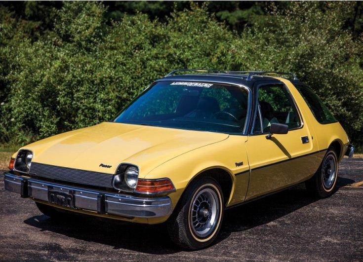 Hudson Hornet, NASCAR, Nash Rambler Ambassador Statesman Airflyte, AMC Pacer,sárga, oldalnézet, elölről, balról, retróvasak, alapjárat