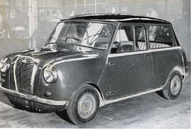 """Austin Se7en / Morris Mini korai prototípus """"Orange Box"""", fekete fehér fénykép, elölnézet, oldalnézet, balról döntve"""