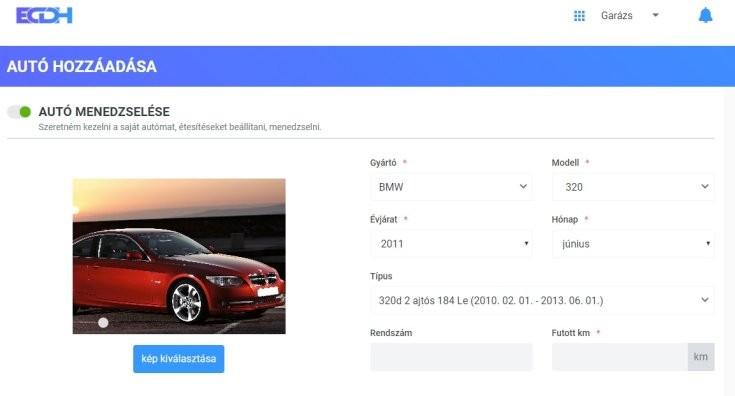 Autó adatok adminisztrálása az ECDH oldalán, autó üzembentartása online