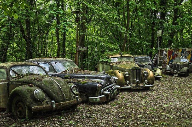 autótemető, előtérben balra egy VW Bogár és egy 1950-es Buick Century