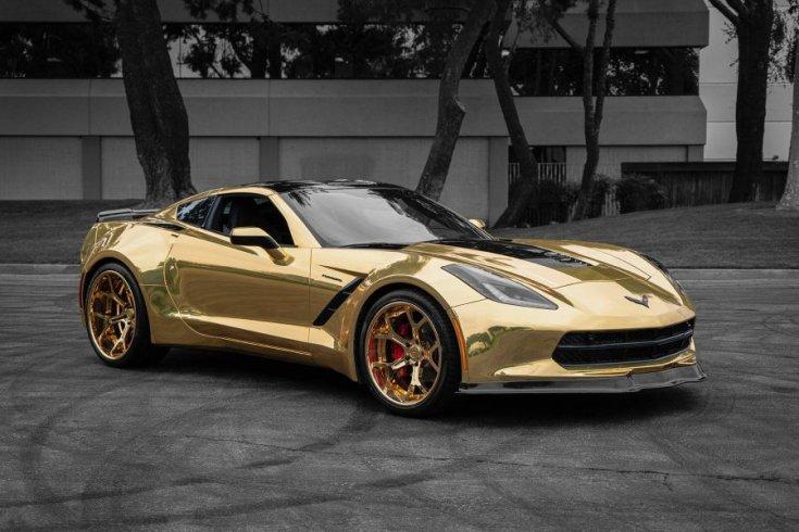Aranyszínű Chevrolet Corvette C7 Convertible Widebody Kit