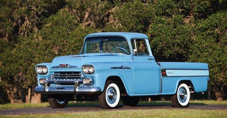 1955 General Motors Chevrolet ½ Cameo Carrier, kék, oldalnézet, jobbról