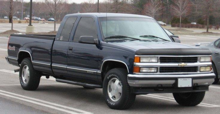 1988 Chevrolet Silverado, GMC Sierra, sötét kék, pick up, oldalnézet, balról