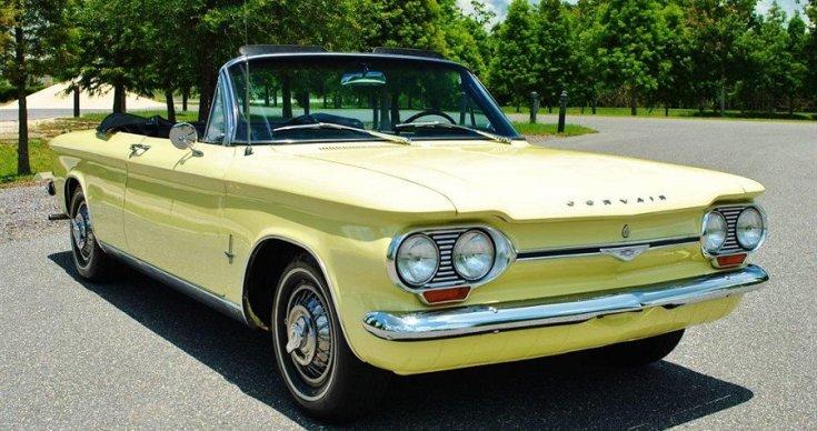 Chevrolet Corvair kabrió, sárga, oldalnézet, balról