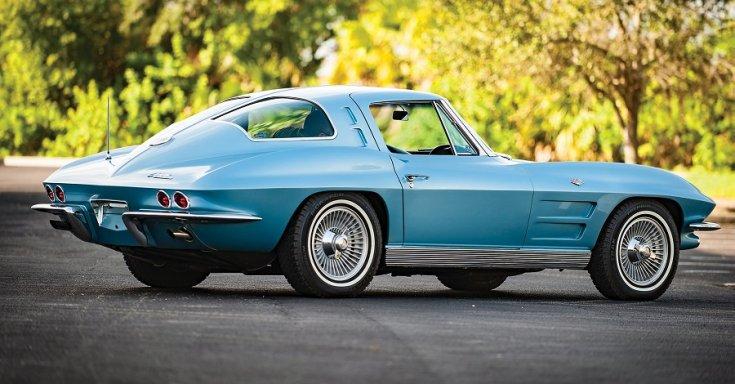 1963 Chevrolet Corvette C2 Sting Ray, kék, hátulról, jobbról, RM Sotheby's