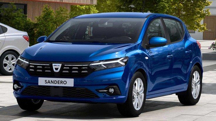 Kék színű, 2020-as modellévű Dacia Sandero szemből