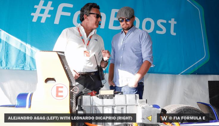 Leonardo DiCaprio az egyik Formula-E istálló garázsában