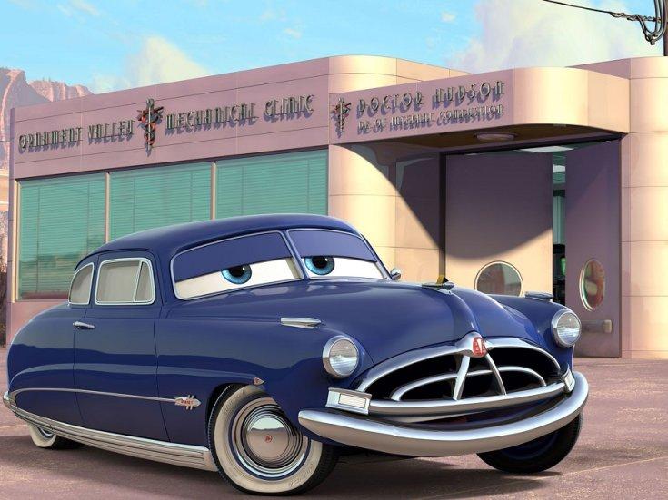 1951 1954 Hudson Hornet, Disney Cars Verdák, animált kép, kék, oldalnézet, elölről