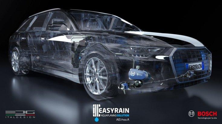 AID rendszerrel szerelt autó a tervrajzon