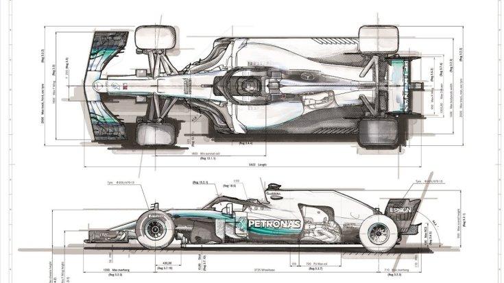 Mercedes F1-es autójának tervrajza felülről és oldalról