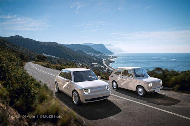 Fiat 126 Vision és a régi modell egymás mellett egy országúton féloldalról