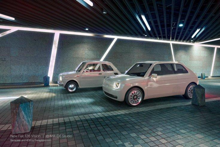 Fiat 126 Vision és a régi modell egymás mellett egy futurisztikus aluljáróban