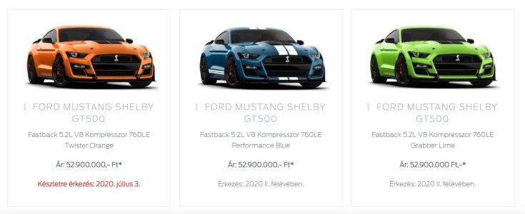 Ford Mustang Shelby GT500 magyarországi színek