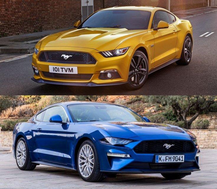 régi és ráncfelvarrott Ford Mustang
