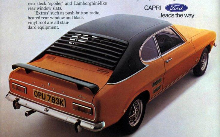 Ford Capri hátsó légterelőkkel, újságreklám